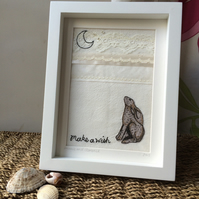 Moon Gazing Hare Embroidered Picture