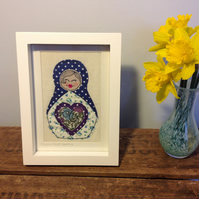 Framed Russian Doll Embroidery