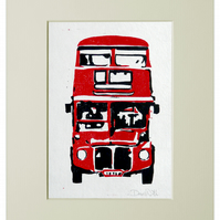 London Bus Linocut