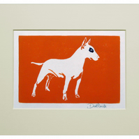 English Bull Terrier Linocut