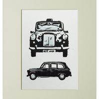 London Taxi Linocut