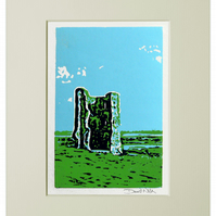 Hadleigh Castle Linocut - limited edition