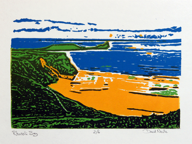 Rhossili Bay - limited edition linocut
