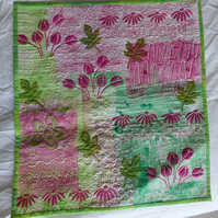 Hand-made printed flower quilted wall-hanging