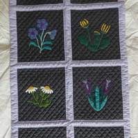 Beautiful handmade flower applique quilted wall-hanging