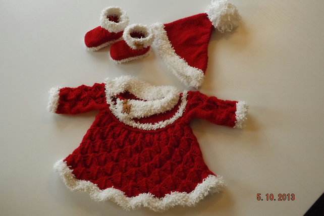 Baby Santa Dress Outfit Knitting Pattern PDF
