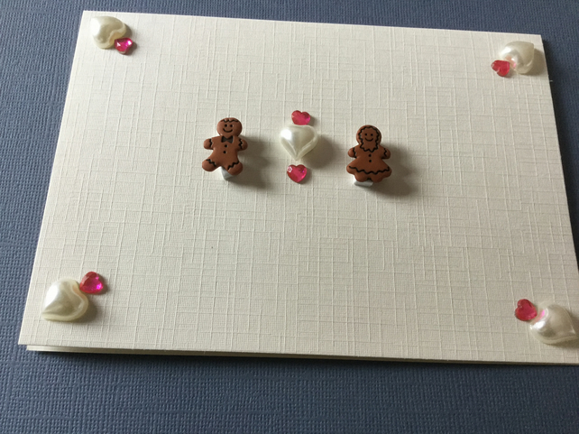Handmade card with gingerbread 'couple' JM020