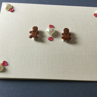 An unusual handmade card with gingerbread 'couple' JM020