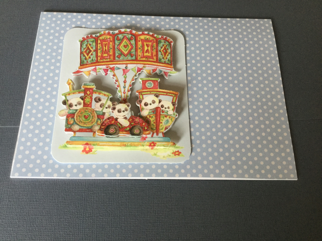 Handmade fairground ride decoupage card JM037