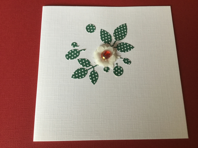 Handmade deep red flower card JM015