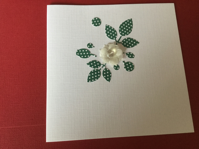 Handmade flower and bead card JM055