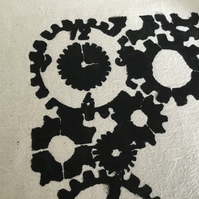 Recycled, hand stenciled tote bag. Cogs. CC76