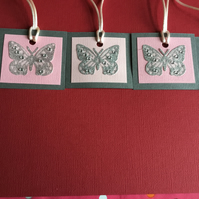 Pack of 5 butterfly gift tags JM342