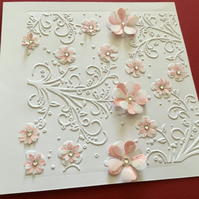 Embossed flower card JM344