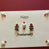 An unusual handmade card with gingerbread 'couple' CC016
