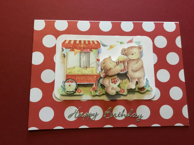 Handmade decoupage teddy and popcorn card JM011