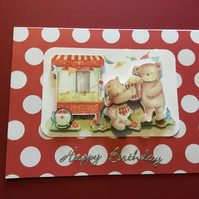 CC008 Handmade decoupage teddy and popcorn card