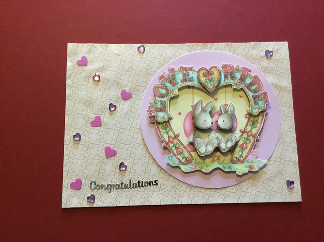 Handmade decoupage 'love ride' card JM009