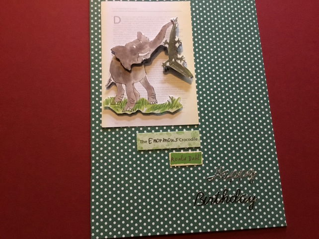 Handmade decoupage Enormous Crocodile card JM031