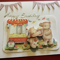 Decoupage teddy with popcorn card JM051