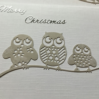 Three owls Christmas Card CC045