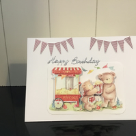 CC033 Decoupage teddy with popcorn card