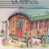 a lovely gypsy caravan decoupage scene.