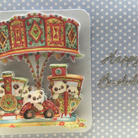 Handmade fairground ride decoupage Birthday card
