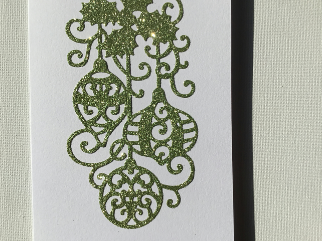 Sparkly green Christmas card