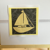A vibrant yellow boat card