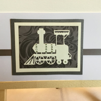 Die cut train card