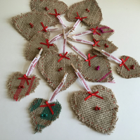 Pack of 12 rustic heart decorations