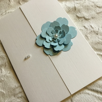 Hand made flower and pearl blank card