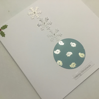 Bauble and snowflake Christmas card