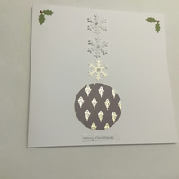 Bauble, snowflake and holly christmas card