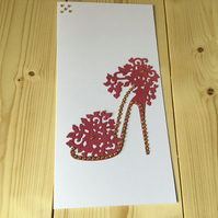 A glitz and glamour shoe card. CC224
