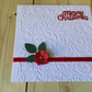 Handmade, embossed Christmas rose card CC242