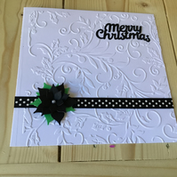 Embossed poinsettia Christmas card CC240