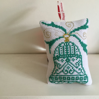 Intricate cross stitch bell hanging decoration. CC248