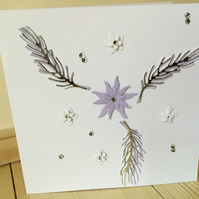 Pretty lilac and silver flower card. CC252