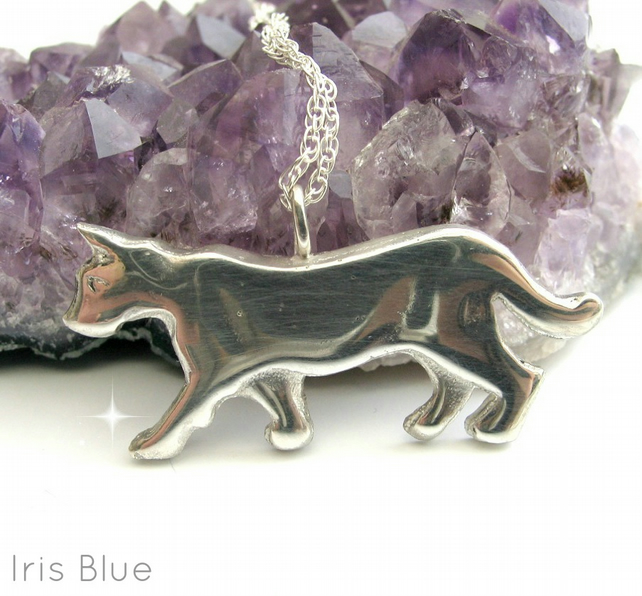 Cat Necklace Sterling Silver