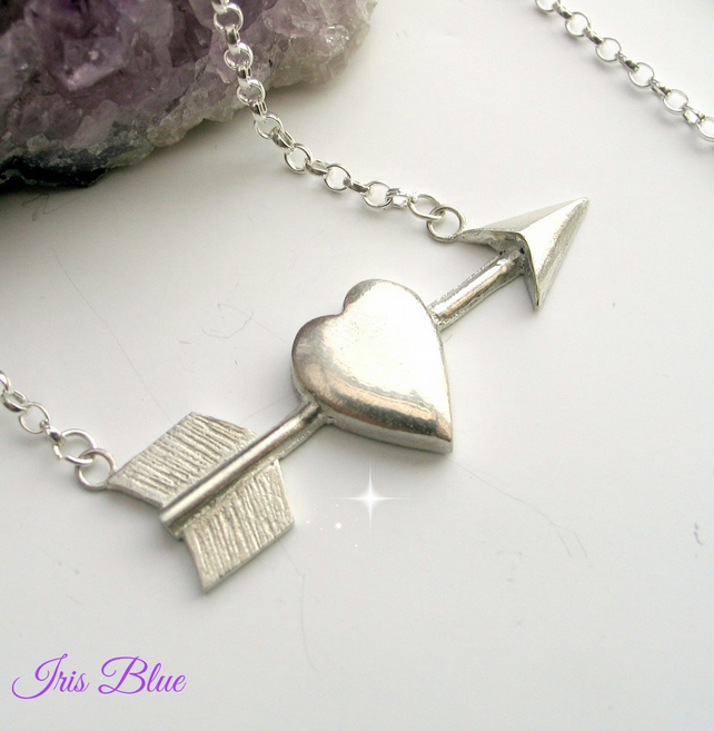 Silver Tattoo Heart Necklace