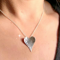 Sterling Silver Hammered Heart Necklace