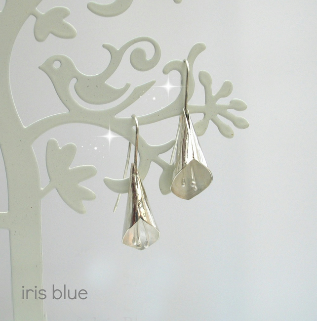 Calla Lily Earrings, Sterling Silver