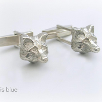Sterling Silver Fox Head Cufflinks