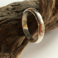 Silver Ring, Hammered Sterling Silver Band, Hers or His, Any Size to Order.