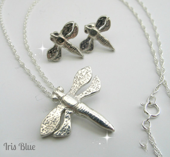 Dragonfly Necklace and Earring Set, Sterling Silver Jewelry, Gift Idea for Her,