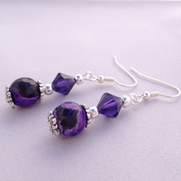 Shaded Purple Agate Drop Earrings