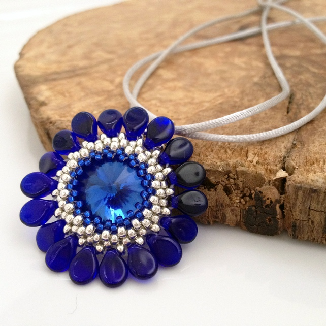 Blue Flower Pendant Necklace