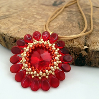 SALE - Red Flower Pendant Necklace